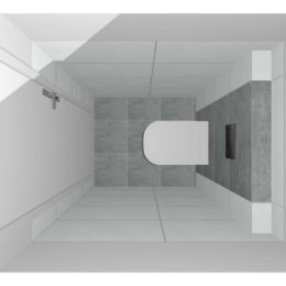 3D vizualizace WC s šedobílým obkladem