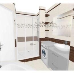 3D vizualizace koupelny se zděnými policemi