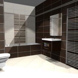 3D vizualizace koupelny s obkladem defile