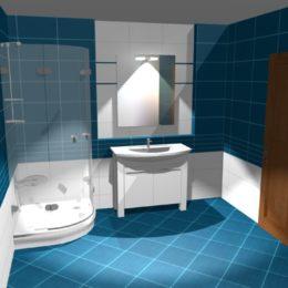 3D vizualizace modré koupelny