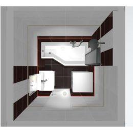 3D vizualizace koupelny s obkladem wenge