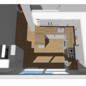 3D vizualizace bílé kuchyně s pultem