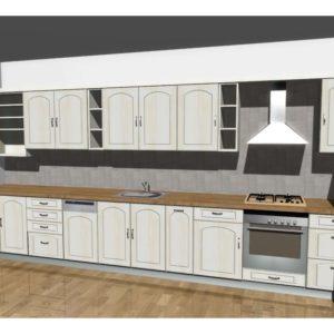 3D vizualizace světlé kuchyně z masivu a s prolisem