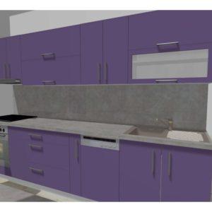 3D vizualizace fialové kuchyňské linky
