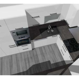 3D vizualizace bílé lesklé kuchyně
