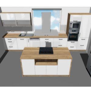 3D vizualizace bílé kuchyně s ostrůvkem