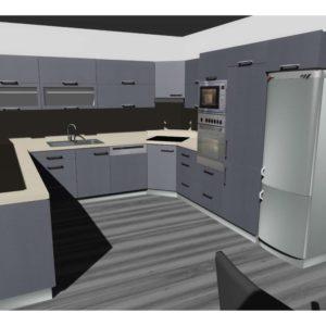 3D vizualizace šedé kuchyně