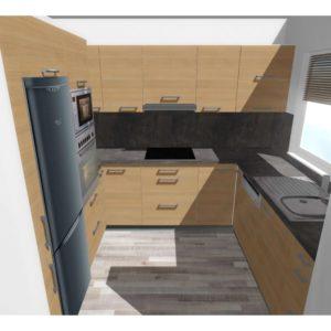 3D vizualizace kuchyně s dekorem dřeva