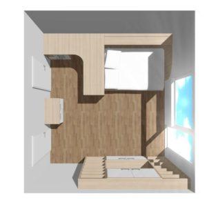 3D vizualizace nábytku v ložnici-pracovně
