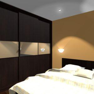 3D vizualizace tmavé skříně v ložnici