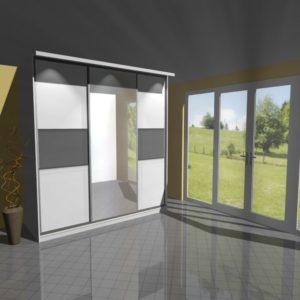 3D vizualizace skříně se zrcadlem a posuvnými dveřmi