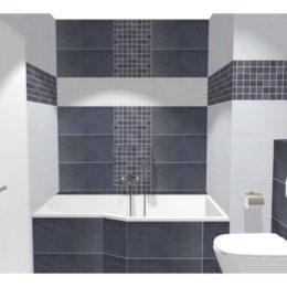 3D vizualizace koupelny s asymetrickou vanou