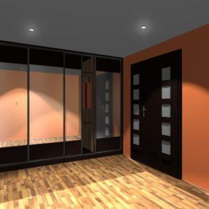 3D vizualizace vestavěné skříně se zrcadlem v chodbě