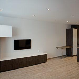 po rekonstrukci - obývací pokoj a kuchyň