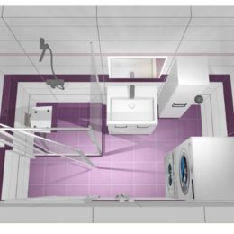 3D vizualizace koupelny s obkladem velvet