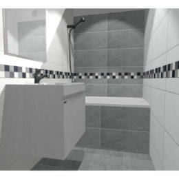 3D vizualizace koupelny s šedým a bílým obkladem