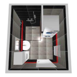 3D vizualizace malé koupelny se sprchovým koutem