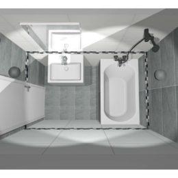 3D vizualizace malé koupelny
