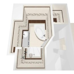 3D vizualizace koupelny s dekorem