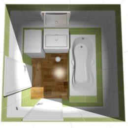 3D vizualizace koupelny s vinylovou podlahou