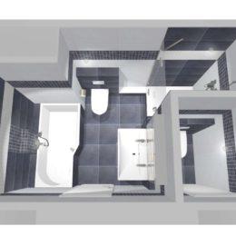 3D vizualizace koupelny a WC