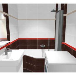 3D vizualizace koupelny s vanou be happy