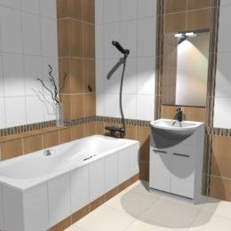 3D vizualizace béžové koupelny