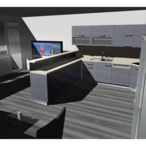 3D vizualizace velké šedé kuchyně s pultem