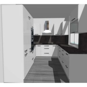 3D vizualizace lesklé kuchyně ve tvaru U