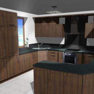 3D vizualizace kuchyně z masivu