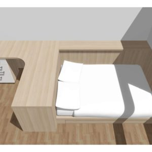 3D vizualizace pracovního stolu spojeného s postelí