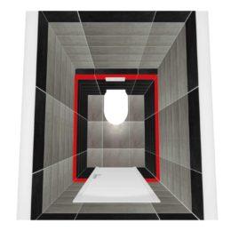 3D vizualizace WC s šedým obkladem a červeným pruhem